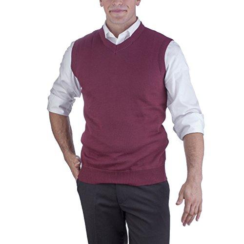Alberto Cardinali Men's Solid Color V-Neck Sweater Vest SVS1 (Medium, Burgundy)