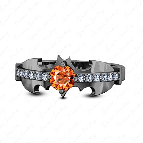 Gemstar Jewellery Orange Sapphire & White Diamond 18K Black Gold Finish 925 Silver Women's Batman (Diamond Orange Sapphire Gold Jewelry)