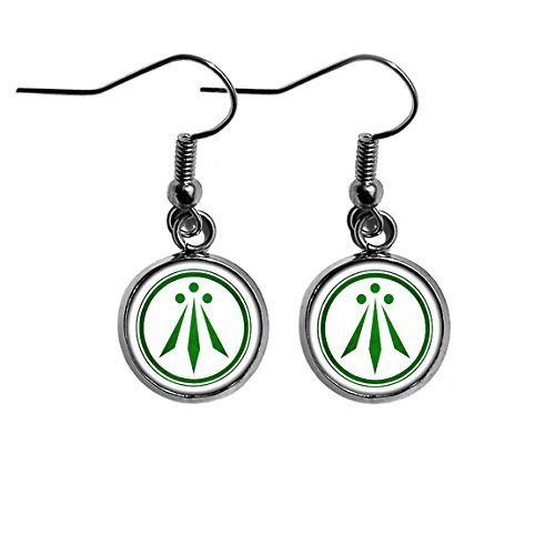 Celtic Symbol - The Awen - Three Rays of Light - Green on White Surgical Steel Earrings
