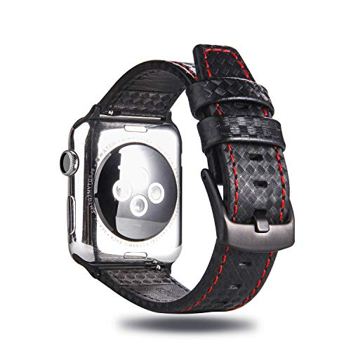 MeShow TCSHOW 44mm 42mm Genuine Leather Carbon Fiber Embossed Pattern with Red Stitching Strap Wrist Band with Secure Metal Clasp Buckle Compatible for Apple Watch Series 4(44mm)/Series 3/2/1(42mm) ()