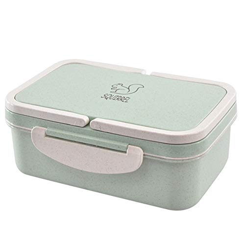 Gotian Double-layer Lunch Box Portable Wheat Straw Picnic Microwave Bento Food Storage Container Green