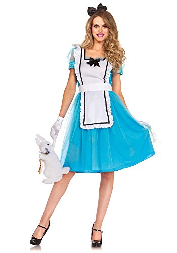 [Leg Avenue Women's Classic Alice Costume, Blue/White, Large] (Mad Hatter Alice Costumes)