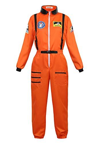 Haorugut Women Astronaut Costume Adult Coveralls Space Suit Dress up Costume Orange XL