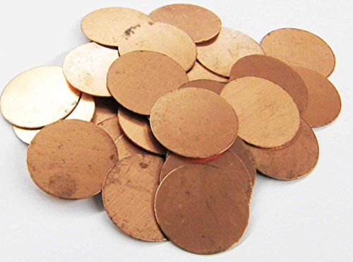 Round Circle Disc Copper 1.5'' Inch Metal Stamping Blank Engraving Tag - 16 Oz Copper - (.5 lbs/~40 blanks) by Copperlab