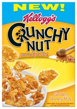 Kellogg's Crunchy Nut Golden Honey Nut Cereal 14.1 oz (Pack of 12) by Kellogg's