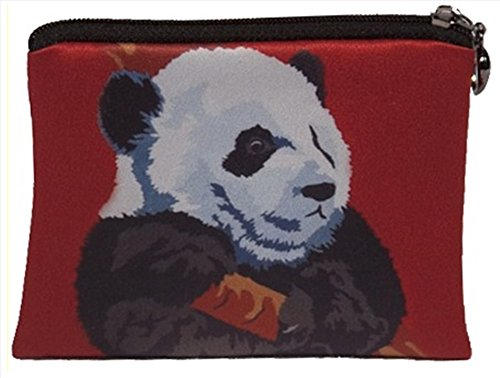 (Giant Panda Vegan Change Purse, Coin Purse - Panda Cub - From My Original Paintings - Support Wildlife Conservation, Read How (Panda - Pensive)