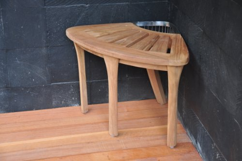 Teakstation 19 Grade A Teak Wood Corner Stool Shower Bench Bath Seat With Accessory Basket