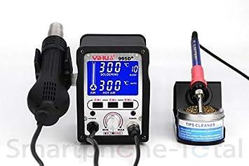 YIHUA 995d + regulable compacta Soldadura Soldador Soldadura de Aire Caliente Digital Mostrar, nachjustierung + Boquillas + 3 teclas de memoria: Amazon.es: ...