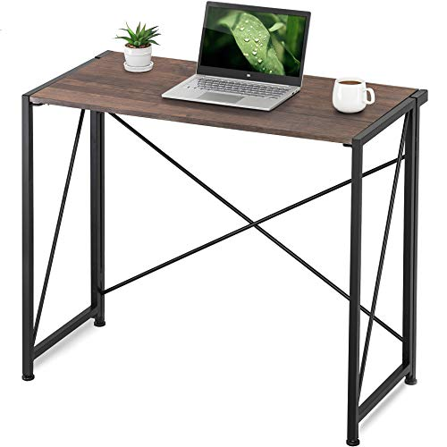 Homury Floding Computer DeskWood and Metal Writing Table for Home & Office EspressoHCD109001WE