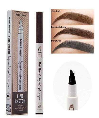 Tattoo Eyebrow Pen Waterproof Ink Gel Tint Four Tips, Long Lasting Hair-Like Brows All Day Eyebrow Microblading 3D Fork Tip - Pack of 1, Dark Grey