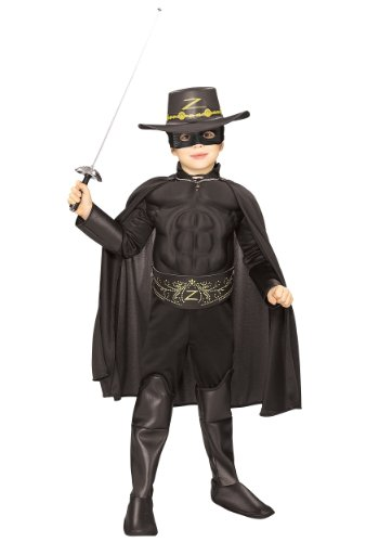 Rubie's Costume Zorro Deluxe Muscle Chest Child Costume, Small -
