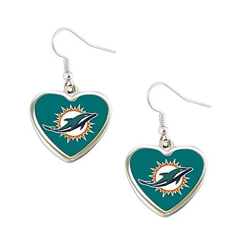 Sports Team Miami Dolphins Non-Swirl Heart Shape Dangle Earring Set