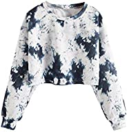 Floerns Girls Tie Dye Round Neck Long Sleeve Pullover Sweatshirt Crop Tops