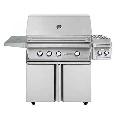 CL 36-Inch Propane Gas Grill On Two Doors Cart With Sear Zone Kit And 13-Inch Double Side Burners (Electric Sealed Burners Grill)