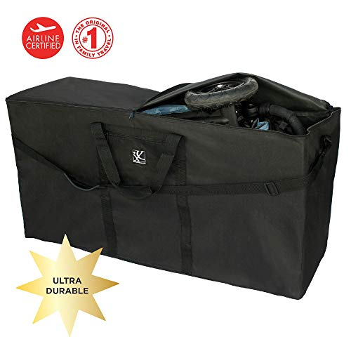 J.L. Childress Stroller Travel Bag for Single and Double Strollers, Durable and Protective, Water-Resistant and Easy Clean, Carry Handles and Detachable Padded Shoulder Strap, - Bag Single Stroller Black
