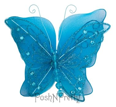 Fairy Wings Baby (PoshNPretty Fairy Glitter Butterfly Wings, Newborn, Baby, Photography prop - TURQUOISE)