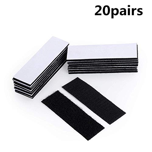 Double Sided Adhesive Sticky 20pcs Strong Tape Hook Loop Mounting Strips Removable Wall Fastener Tape Anti-Slip Carpet Gripper Interlocking Tape for Home Office Black
