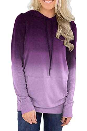 (Twinklady Women's Hoodies Long Sleeve Floral Pullover Casual Sweatshirt with Pockets)