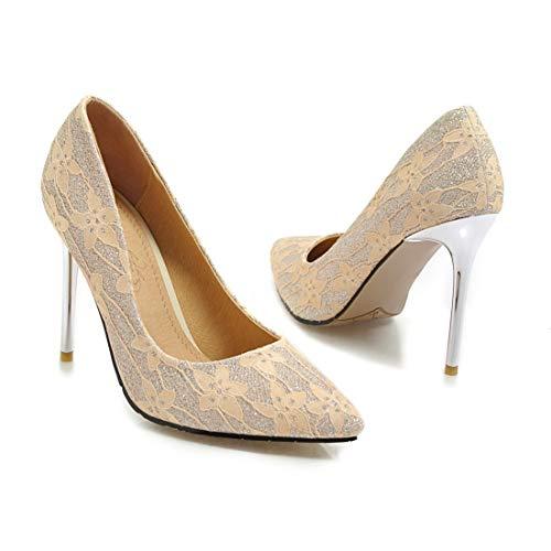 Scarpe Slip Alto Punta A Vitalo Con Da Donna Giallo Eleganti Decolte Tacco On Lavoro Spillo Glitter Sposa Basse 5PqxcA4wxF