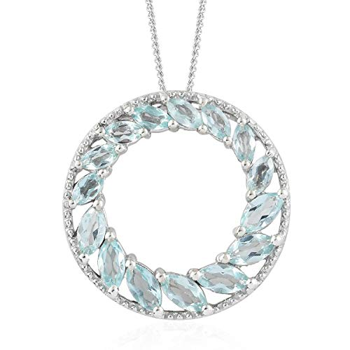 925 Sterling Silver Platinum Plated Marquee Apatite Pendant with Chain 20