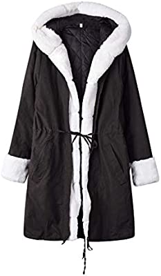 AOJIAN Women Jacket Long Sleeve Outwear Faux Fur Hooded Button Pocket Solid Parka Coat