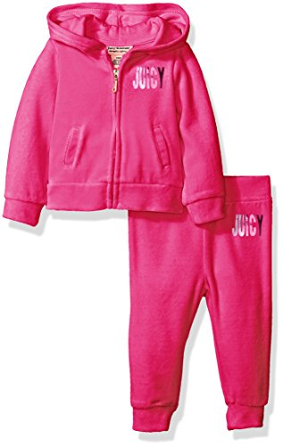 Juicy Couture Baby Girls' 2 Piece Velour Hooded Jacket and Pant Set, Hot Pink, 12 Months