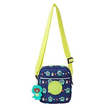 LINE FRIENDS Children Shoulder Bag Navy Dino BROWN Character Kids Messenger Crossbody Sling Bag with Keychain
