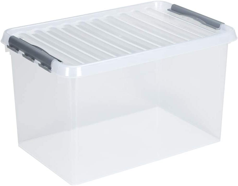 BOITE plastique grise avec couvercle 180x500x400mm fermeture noir Qline Box 25L
