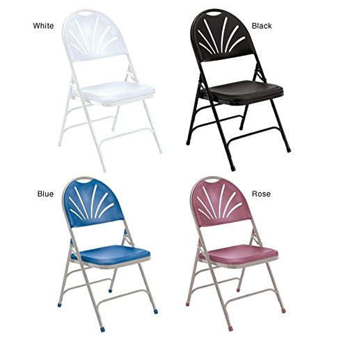 National Public Seating 1100 Series Steel Frame Polyfold Fan Back Double Hinge Folding Chair with Triple Brace, 480 lbs Capacity, Black (Carton of 4) by NPS