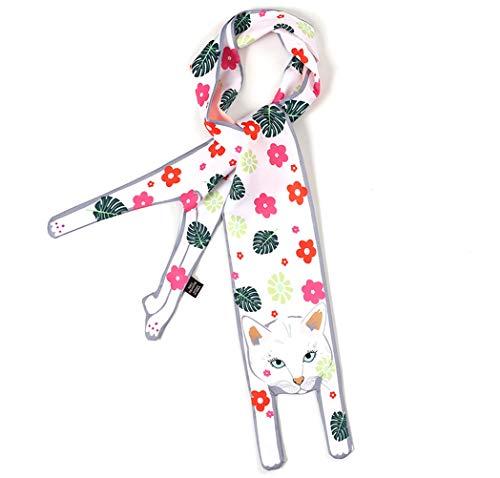 Hair Scarf For Women Silk Scarf Ribbon For Bags Tote Bag Crossbody Handbags Handle Colorful Cat