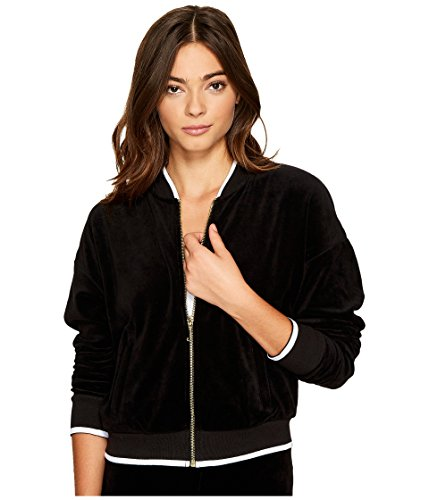 Juicy Couture Ribbed - Juicy Couture Women's Velour Ruched Sleeve Jacket Pitch Black Outerwear