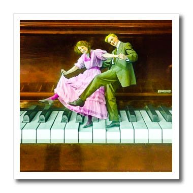 Circa Print Sweatshirt - 3dRose Scenes from the Past Magic Lantern Slides - Tickling the Ivories Vintage Romantic Tap Dancing Couple Circa 1910 - 6x6 Iron on Heat Transfer for White Material (ht_269937_2)