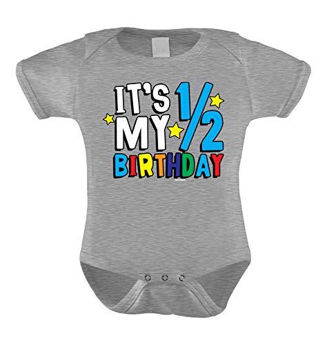 HAASE UNLIMITED It's My Half Birthday - Anniversary Infant Bodysuit (Light Gray, 6 Months) -