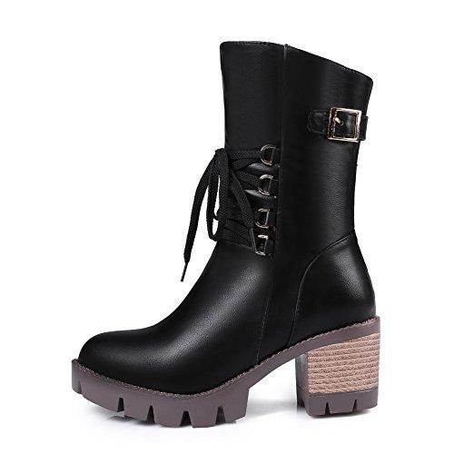Black Gladiator Kitten Boots Urethane Bandage Heels Womens ABL10544 BalaMasa Eqw8Pg7