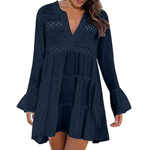 Women's Casual Dresses,Sexy V Neck Ruffle Mini Dress Lace Flare Long Sleeve Swing Party Dress Hollow Knee Length Dress Navy