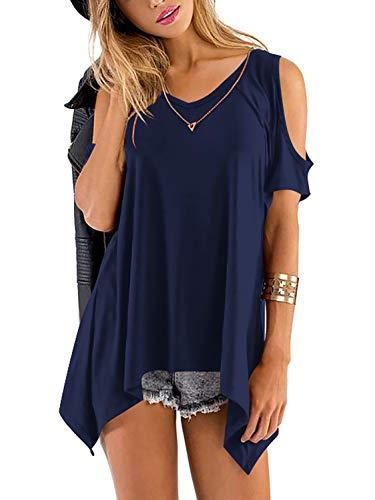 Beluring Womens Cold Shoulder Shirts Short Sleeve V-Neck Swing Tunic Tops (Navy, S)