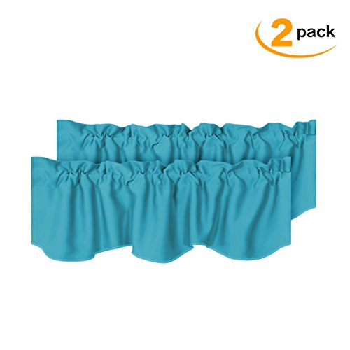 Room Darkening Curtain Valances for Windows Blue Rod Pocket Scalloped Valances for Bedroom, Set of 2 Pack, Turquoise Blue, 52 inch by 18 inch (Window Bedroom Valances)