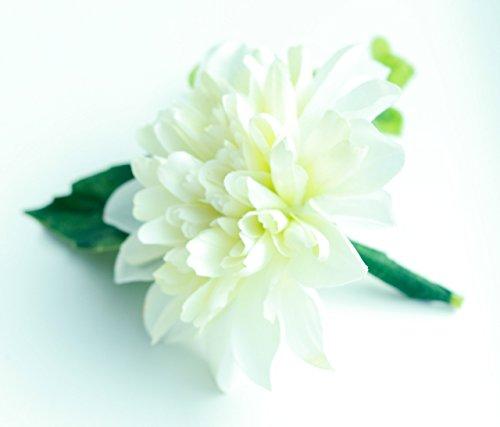 Classic White Dahlia Boutonniere - Silk