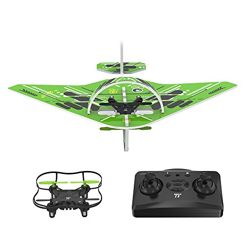TaoTronics Quadcopter Drone, 2 IN 1 Glider Air plane, RC Quadcopter Helicopter Drone, 2.4GHz UAV Quadcopter Flying Toy, Long Range Remote Control, Good for Beginning Player (For Age 14+)