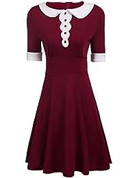 Women's Casual Half Sleeve Peter Pan Collar Doll Flare A Line Dress