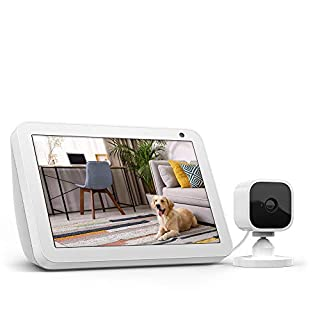 Echo Show 8 Sandstone with Blink Mini Indoor Smart Security Camera, 1080 HD with Motion Detection