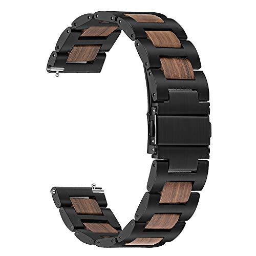 for Samsung Galaxy Watch 42mm /Galaxy Watch Active 40mm Watchband, TRUMiRR 20mm Stainless Steel & Natural Wood Band Quick Release Strap Wrist Bracelet for Gear Sport, S2 Classic, Garmin Vivoactive 3