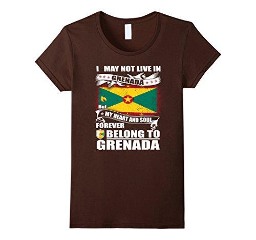 Womens Heart belong to Grenada proud shirt Medium Brown (Grenadians On Halloween)