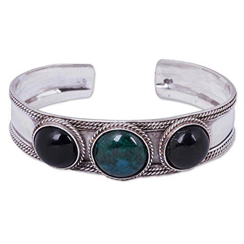 - NOVICA Multi-Gem Obsidian .925 Sterling Silver Cuff Bracelet 'Natural Radiance'