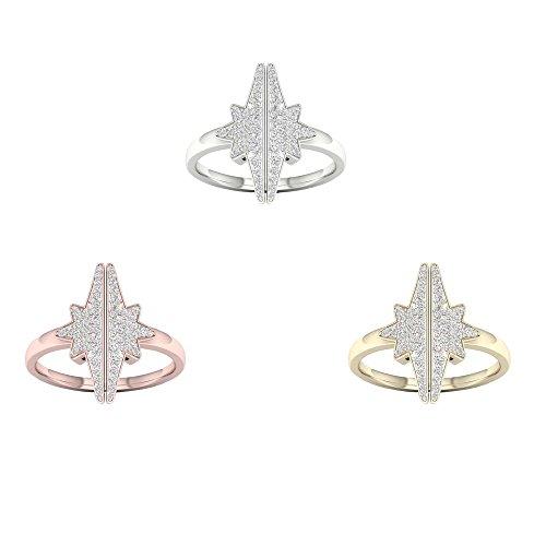 IGI CERTIFIED 10K Yellow Gold 1/4Ct TDW Diamond Star Fashion Ring ()
