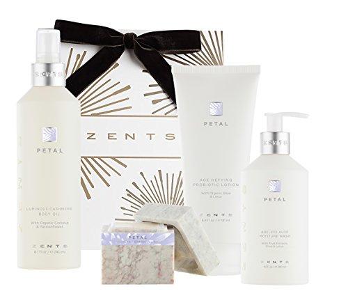 Zents Deluxe Bath Gift Set, Petal, Ageless Moisture Wash, Concreta, Lotion, and Body Oil, 4 - Piece Set (Zents Petal)