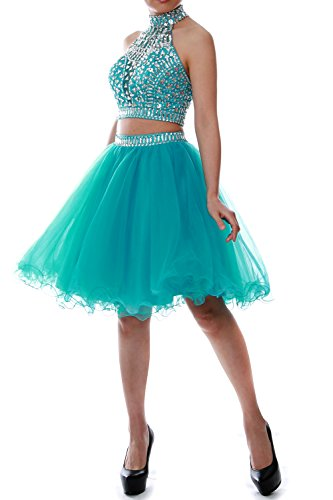MACloth Women Two Piece Halter Tulle Short Prom Dress Homecoming Party Ball Gown (EU36, Azul Real)