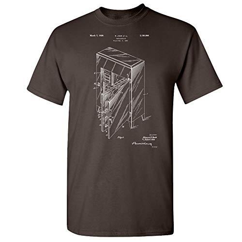 Refrigerator T-Shirt, Ice Box, Fridge Blueprint, Antique Freezer, Refrigeration Unit, Kitchen Appliance, Culinary Gifts Dark Chocolate (Large)