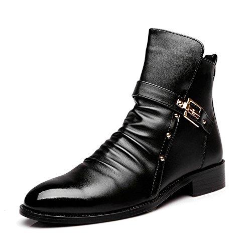 WZG botina Martin botas botas botas botas masculinas de los hombres cargadores de la motocicleta masculinas botas de trabajo de seguridad Black