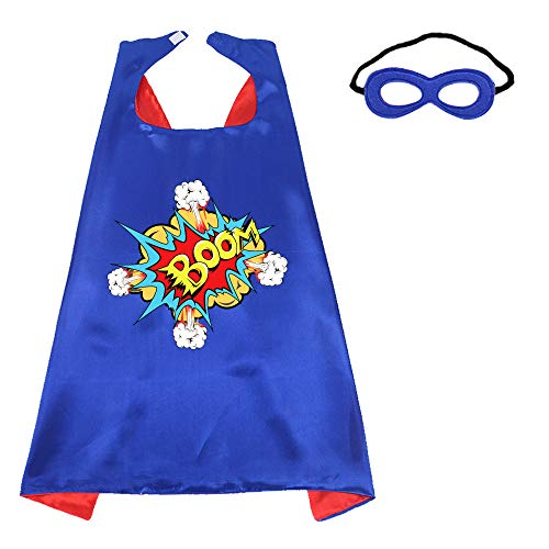 Superhero-Capes-Masks Kids Dress-up Birthday Party (Boom) Red Blue ()